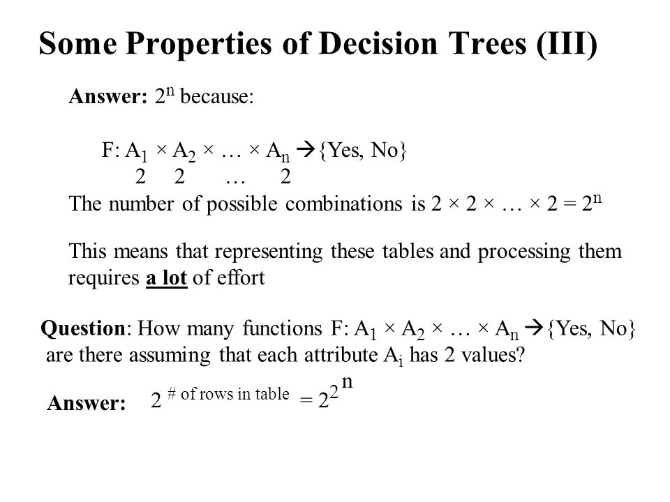 Some Properties of Decision Trees (III) Answer: 2 n because: F: A 1 × A 2 × … × A n  {Yes, No} 2 2 … 2 The number of possible combinations is 2 × 2 × … × 2 = 2 n This means that representing these tables and processing them requires a lot of effort Question: How many functions F: A 1 × A 2 × … × A n  {Yes, No} are there assuming that each attribute A i has 2 values.