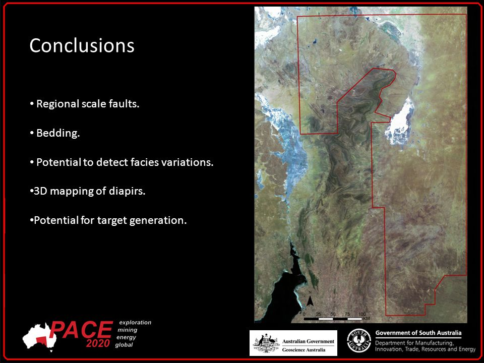 Conclusions Regional scale faults. Bedding. Potential to detect facies variations.