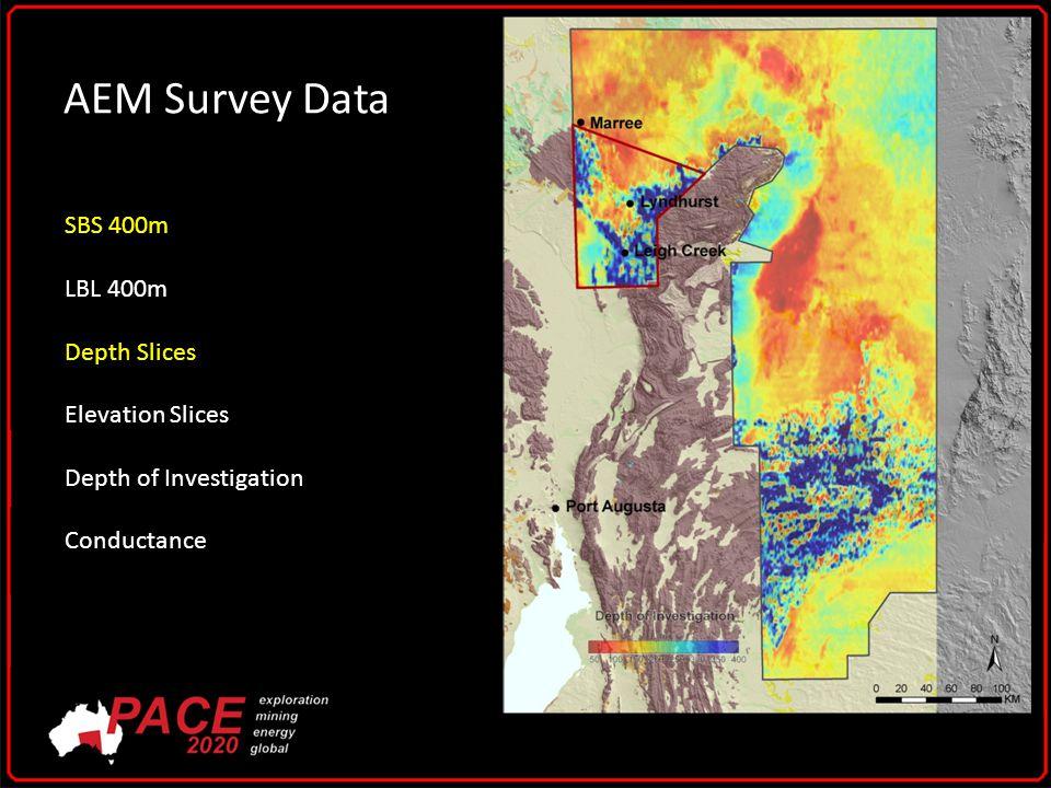 AEM Survey Data SBS 400m LBL 400m Depth Slices Elevation Slices Depth of Investigation Conductance
