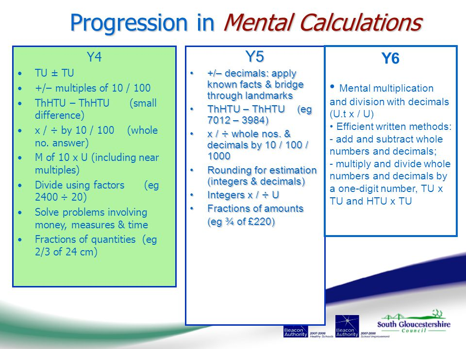 Progression in Mental Calculations Y5 +/– decimals: apply known facts & bridge through landmarks+/– decimals: apply known facts & bridge through landmarks ThHTU – ThHTU (eg 7012 – 3984)ThHTU – ThHTU (eg 7012 – 3984) x / ÷ whole nos.