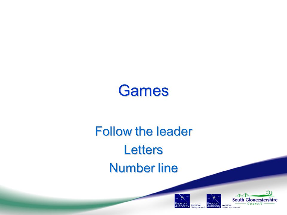 Games Follow the leader Letters Number line