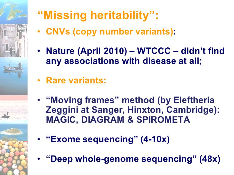 "CNVs (copy number variants): Nature (April 2010) – WTCCC – didn't find any associations with disease at all; Rare variants: ""Moving frames"" method (by"