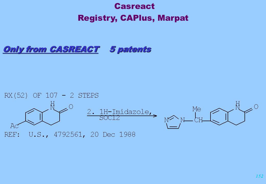 152 Only from CASREACT 5 patents Casreact Registry, CAPlus, Marpat