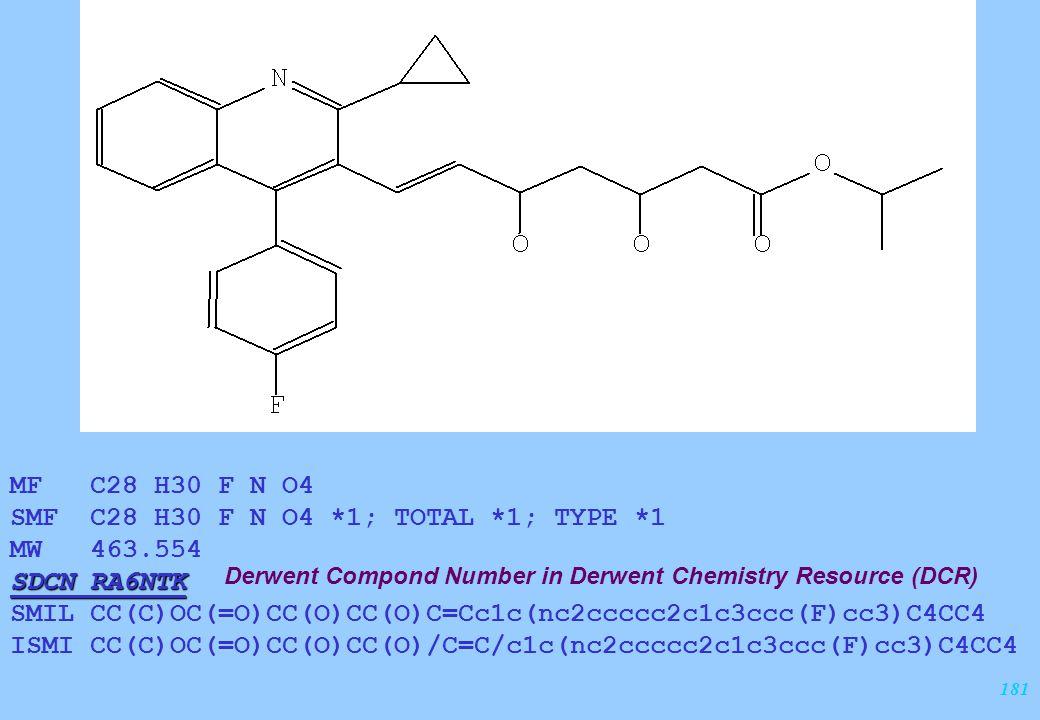 181 MF C28 H30 F N O4 SMF C28 H30 F N O4 *1; TOTAL *1; TYPE *1 MW 463.554 SDCN RA6NTK SMIL CC(C)OC(=O)CC(O)CC(O)C=Cc1c(nc2ccccc2c1c3ccc(F)cc3)C4CC4 IS