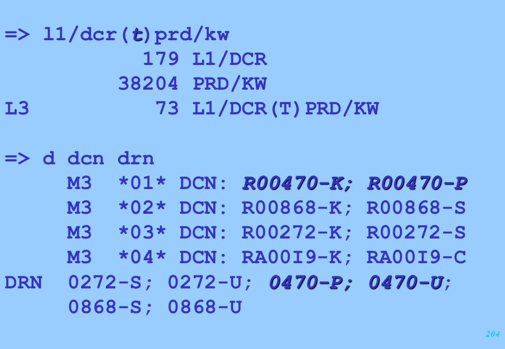 204 t => l1/dcr(t)prd/kw 179 L1/DCR 38204 PRD/KW L3 73 L1/DCR(T)PRD/KW => d dcn drn R00470-K; R00470-P M3 *01* DCN: R00470-K; R00470-P M3 *02* DCN: R0