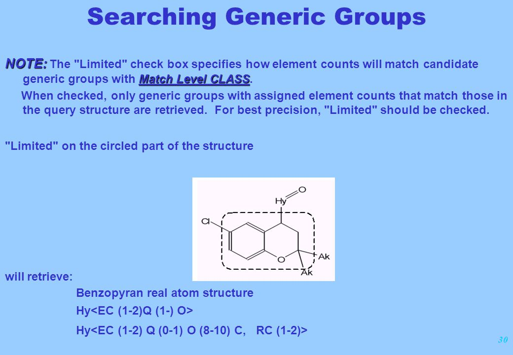 30 NOTE: Match Level CLASS NOTE: The Limited check box specifies how element counts will match candidate generic groups with Match Level CLASS.