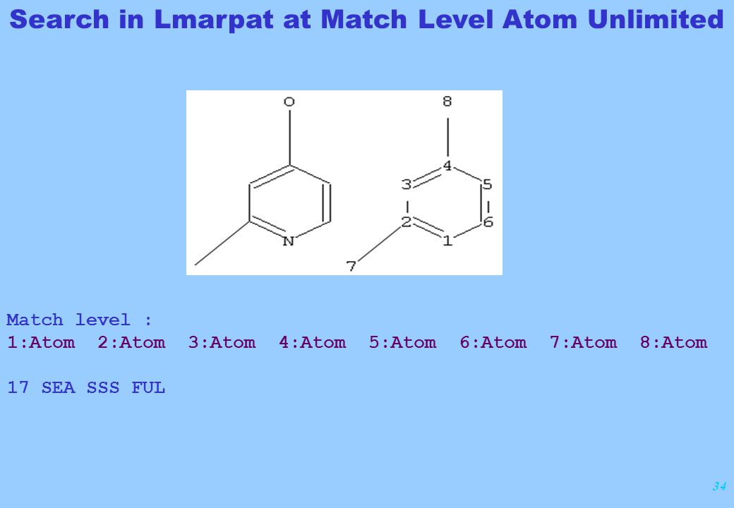 34 Match level : 1:Atom 2:Atom 3:Atom 4:Atom 5:Atom 6:Atom 7:Atom 8:Atom 17 SEA SSS FUL Search in Lmarpat at Match Level Atom Unlimited