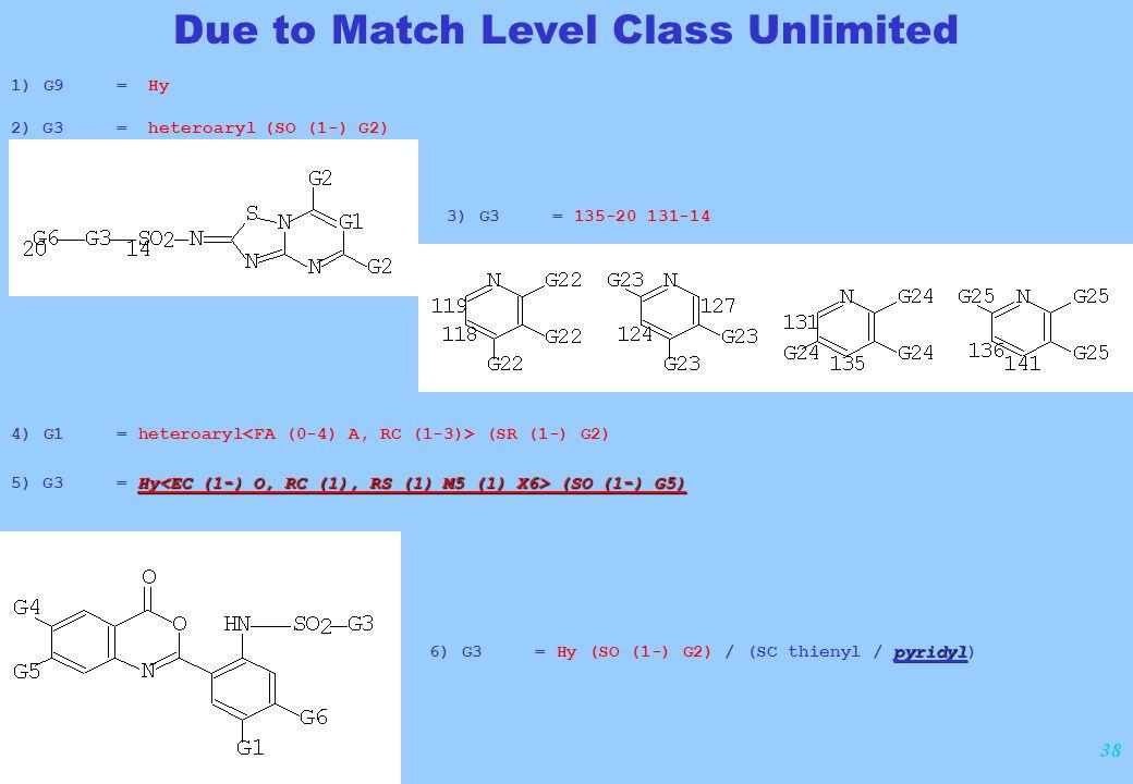 38 1) G9 = Hy 2) G3 = heteroaryl (SO (1-) G2) Due to Match Level Class Unlimited 3) G3 = 135-20 131-14 4) G1 = heteroaryl (SR (1-) G2) Hy (SO (1-) G5)