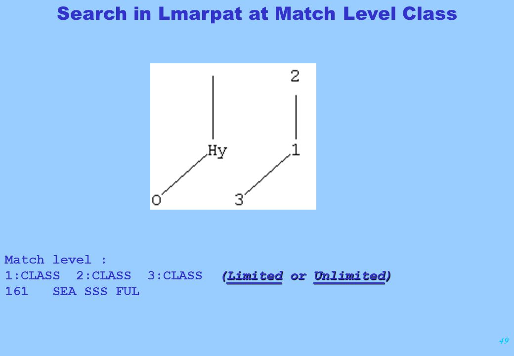 49 Match level : (Limited or Unlimited) 1:CLASS 2:CLASS 3:CLASS (Limited or Unlimited) 161 SEA SSS FUL Search in Lmarpat at Match Level Class