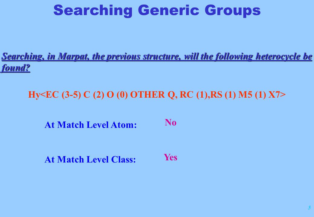 16 Searching Generic Groups At match level Class, element counts may match:  Real atom structures that meet the criteria  Generic group with additional attributes, if the attributes match the element counts in the query attributes match the element counts in the query