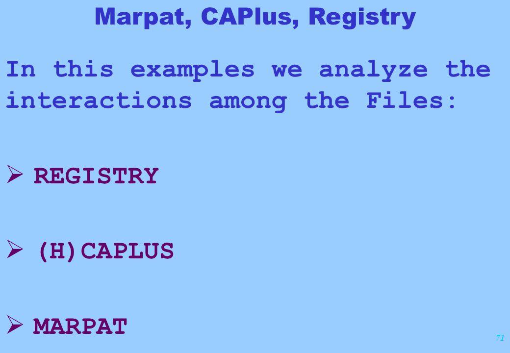 71 In this examples we analyze the interactions among the Files:  REGISTRY  (H)CAPLUS  MARPAT Marpat, CAPlus, Registry