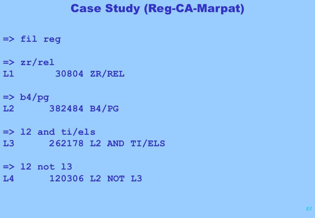 83 => fil reg => zr/rel L1 30804 ZR/REL => b4/pg L2 382484 B4/PG => l2 and ti/els L3 262178 L2 AND TI/ELS => l2 not l3 L4 120306 L2 NOT L3 Case Study