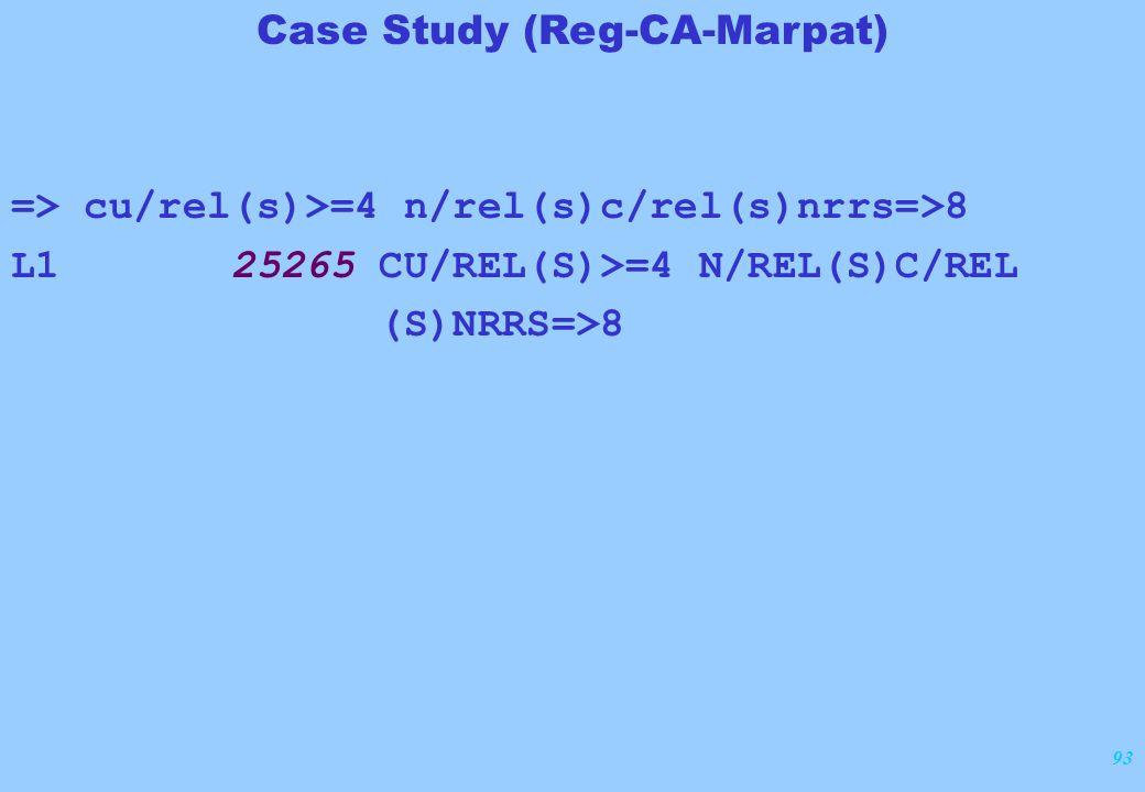 93 => cu/rel(s)>=4 n/rel(s)c/rel(s)nrrs=>8 L1 25265 CU/REL(S)>=4 N/REL(S)C/REL (S)NRRS=>8 Case Study (Reg-CA-Marpat)