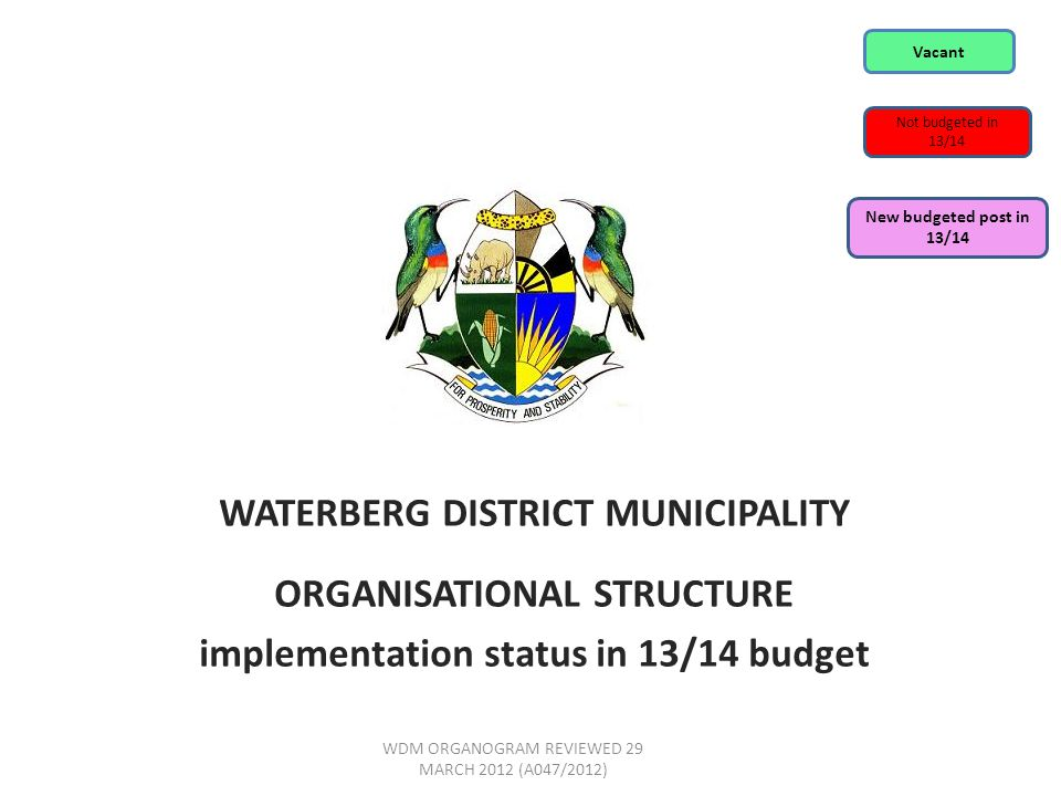 WATERBERG DISTRICT MUNICIPALITY ORGANISATIONAL STRUCTURE implementation status in 13/14 budget WDM ORGANOGRAM REVIEWED 29 MARCH 2012 (A047/2012) Vacant Not budgeted in 13/14 New budgeted post in 13/14