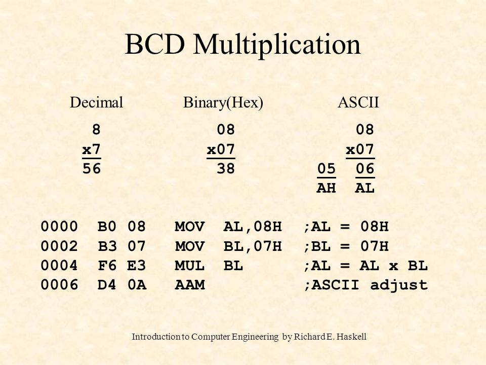 Introduction to Computer Engineering by Richard E. Haskell BCD Multiplication DecimalASCII 8 x7 56 08 x07 05 06 AH AL 0000 B0 08 MOV AL,08H ;AL = 08H