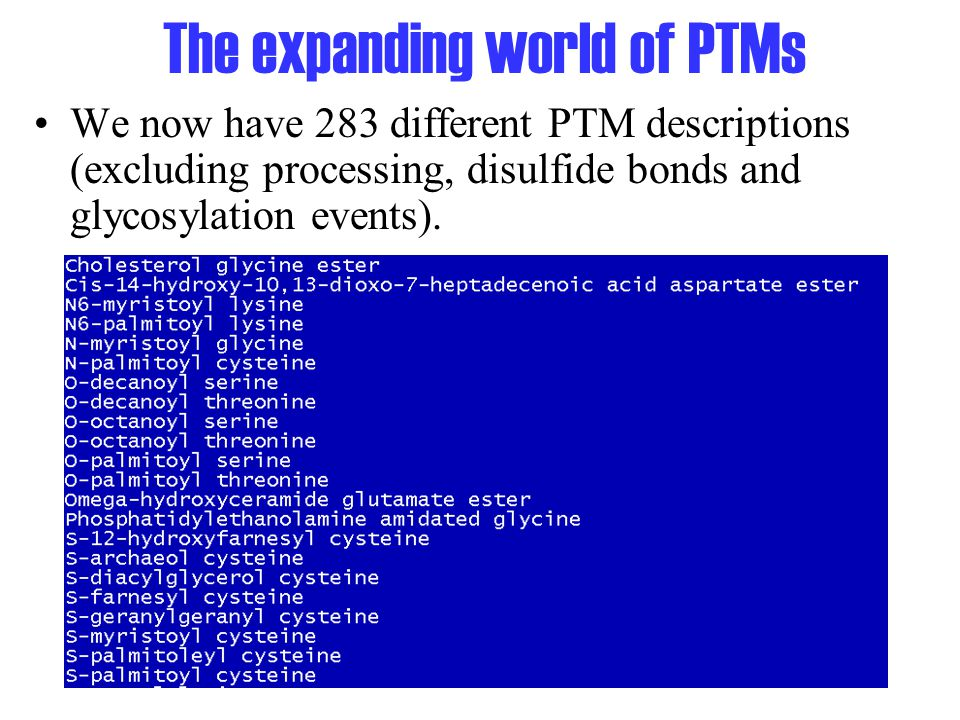 The expanding world of PTMs We now have 283 different PTM descriptions (excluding processing, disulfide bonds and glycosylation events).