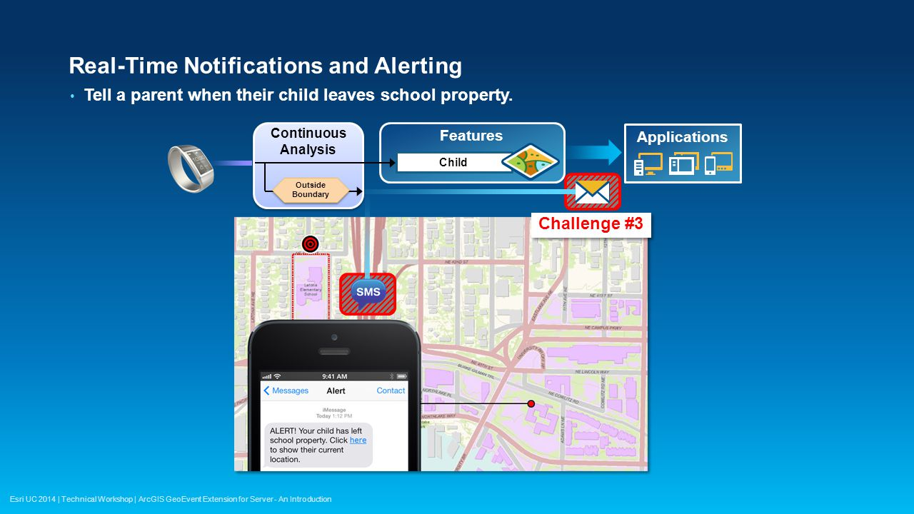 Esri UC 2014 | Technical Workshop | ArcGIS GeoEvent Extension for Server - An Introduction Real-Time Notifications and Alerting Tell a parent when the