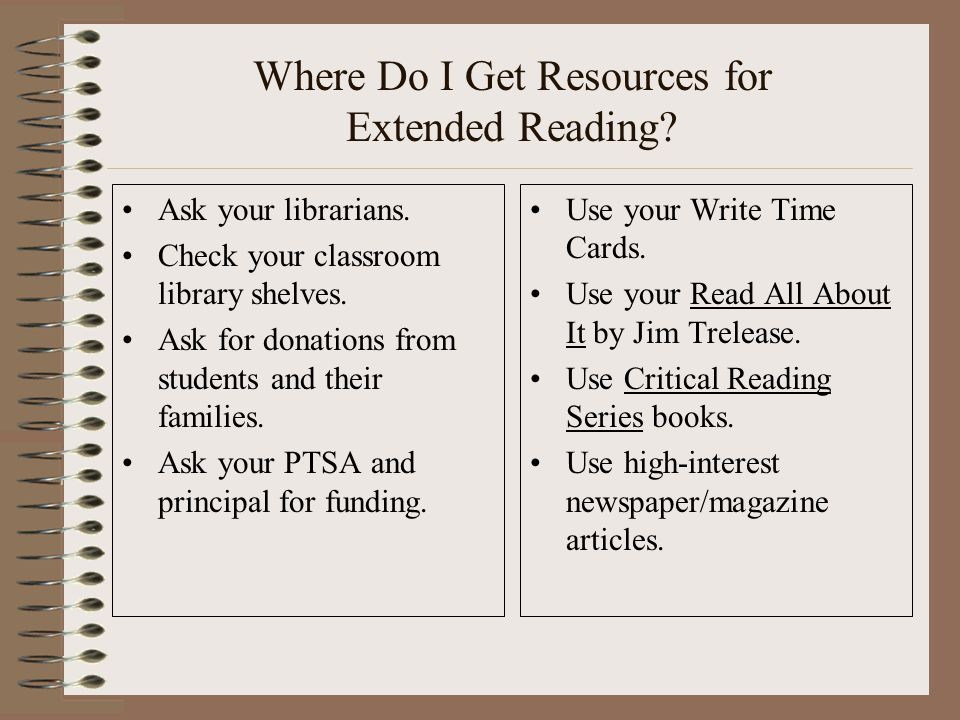 Where Do I Get Resources for Extended Reading. Ask your librarians.