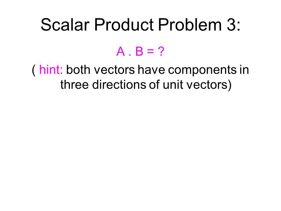 Scalar Product Problem 3: A. B = .