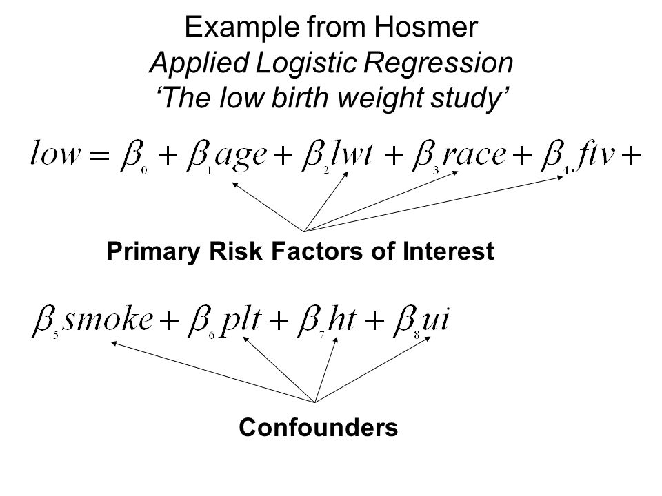 Example from Hosmer Applied Logistic Regression 'The low birth weight study' Primary Risk Factors of Interest Confounders