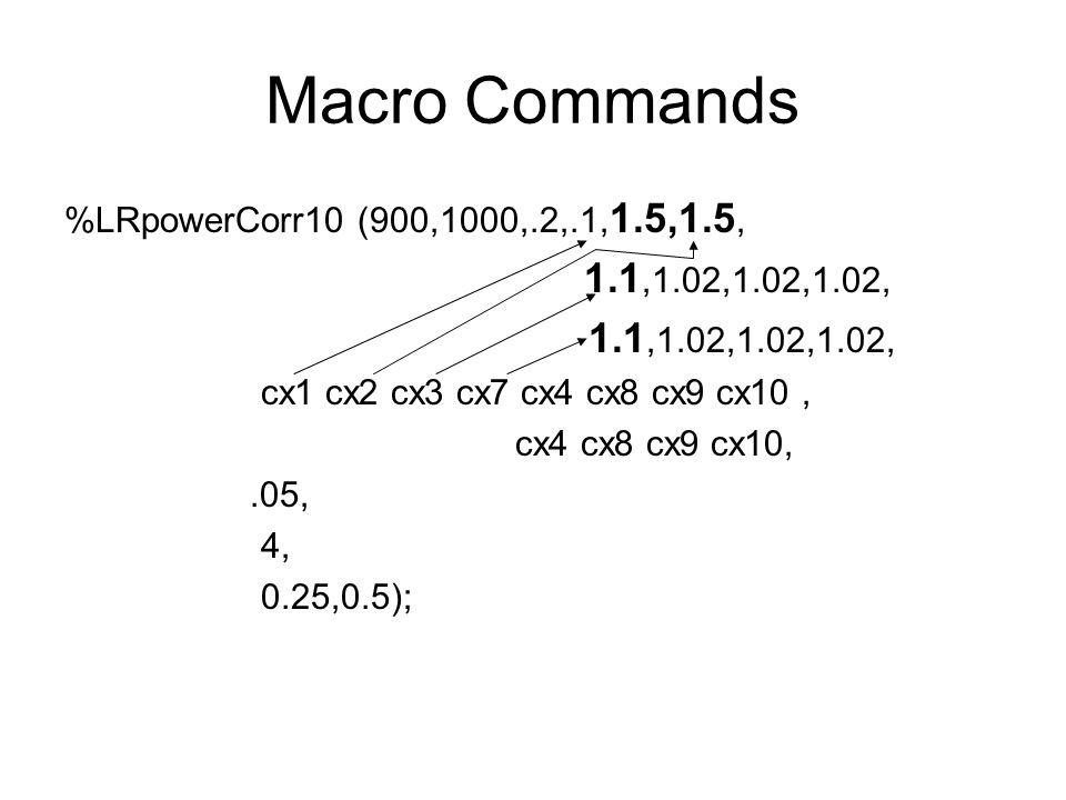 Macro Commands %LRpowerCorr10 (900,1000,.2,.1, 1.5,1.5, 1.1,1.02,1.02,1.02, cx1 cx2 cx3 cx7 cx4 cx8 cx9 cx10, cx4 cx8 cx9 cx10,.05, 4, 0.25,0.5);