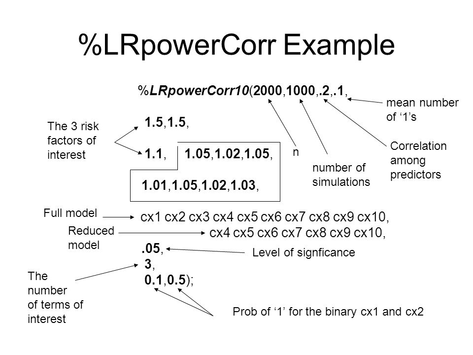 %LRpowerCorr Example %LRpowerCorr10(2000,1000,.2,.1, 1.5,1.5, 1.1, 1.05,1.02,1.05, 1.01,1.05,1.02,1.03, cx1 cx2 cx3 cx4 cx5 cx6 cx7 cx8 cx9 cx10, cx4 cx5 cx6 cx7 cx8 cx9 cx10,.05, 3, 0.1,0.5); The 3 risk factors of interest Full model Reduced model Level of signficance The number of terms of interest Prob of '1' for the binary cx1 and cx2 n number of simulations Correlation among predictors mean number of '1's