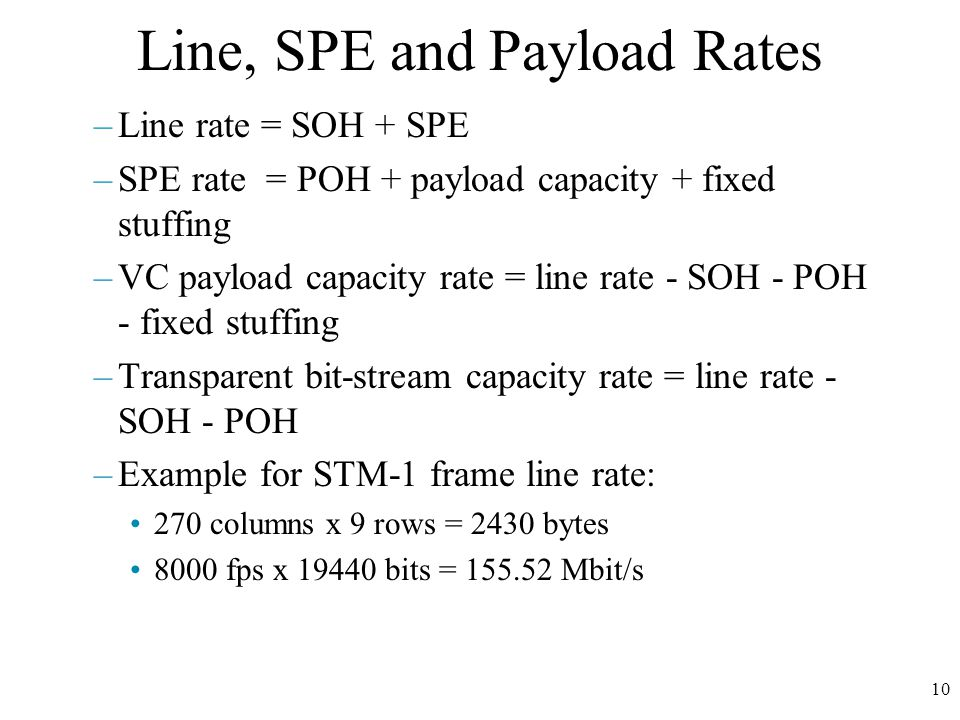 10 Line, SPE and Payload Rates –Line rate = SOH + SPE –SPE rate = POH + payload capacity + fixed stuffing –VC payload capacity rate = line rate - SOH - POH - fixed stuffing –Transparent bit-stream capacity rate = line rate - SOH - POH –Example for STM-1 frame line rate: 270 columns x 9 rows = 2430 bytes 8000 fps x 19440 bits = 155.52 Mbit/s