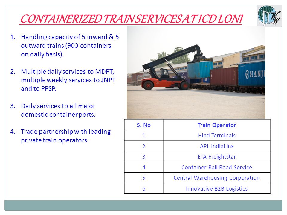 1.Handling capacity of 5 inward & 5 outward trains (900 containers on daily basis).