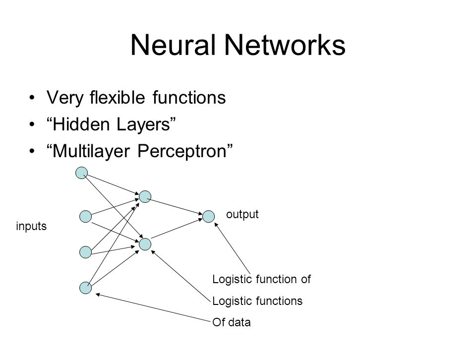 Neural Networks Very flexible functions Hidden Layers Multilayer Perceptron Logistic function of Logistic functions Of data output inputs