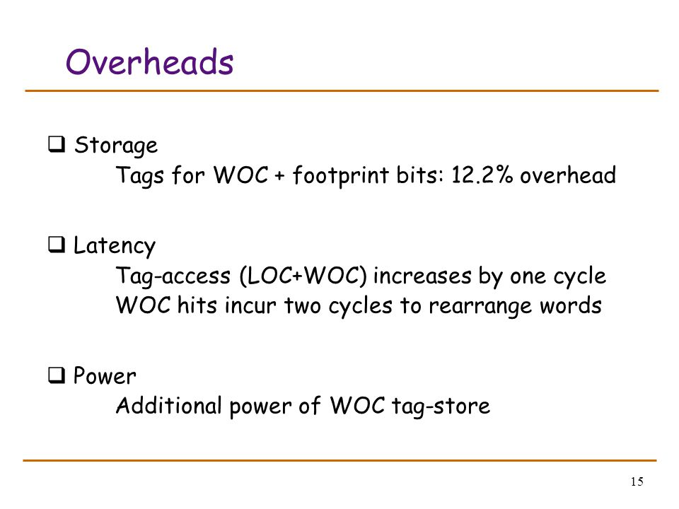 15 Overheads  Storage Tags for WOC + footprint bits: 12.2% overhead  Latency Tag-access (LOC+WOC) increases by one cycle WOC hits incur two cycles t