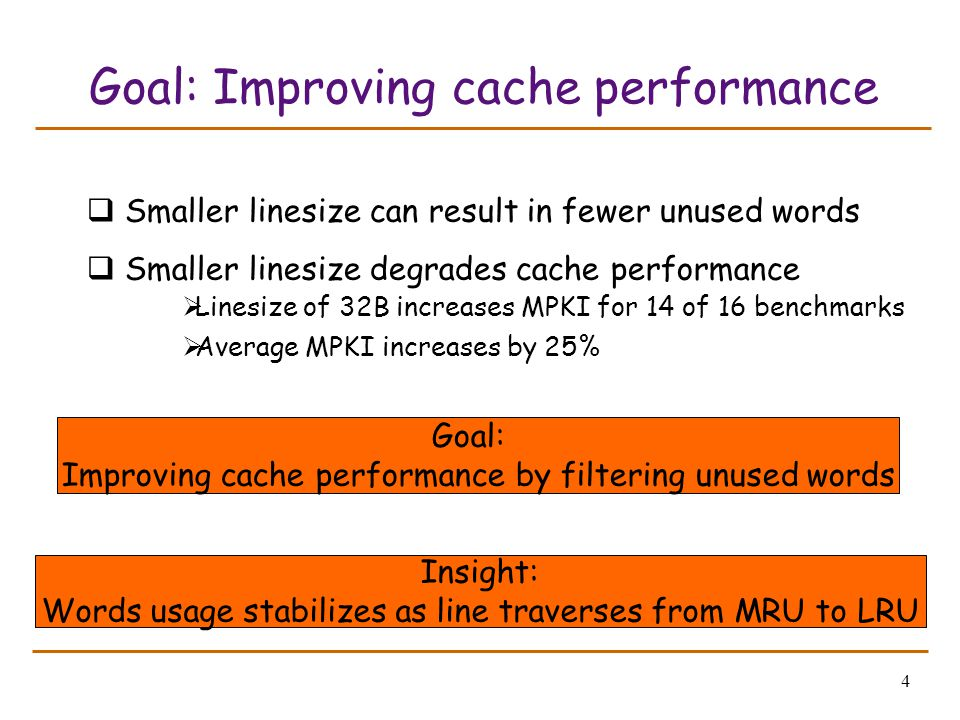4 Goal: Improving cache performance  Smaller linesize can result in fewer unused words  Smaller linesize degrades cache performance  Linesize of 32