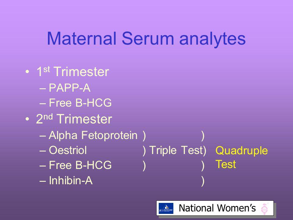 National Women's Maternal Serum analytes 1 st Trimester –PAPP-A –Free B-HCG 2 nd Trimester –Alpha Fetoprotein)) –Oestriol) Triple Test) –Free B-HCG)) –Inhibin-A) Quadruple Test