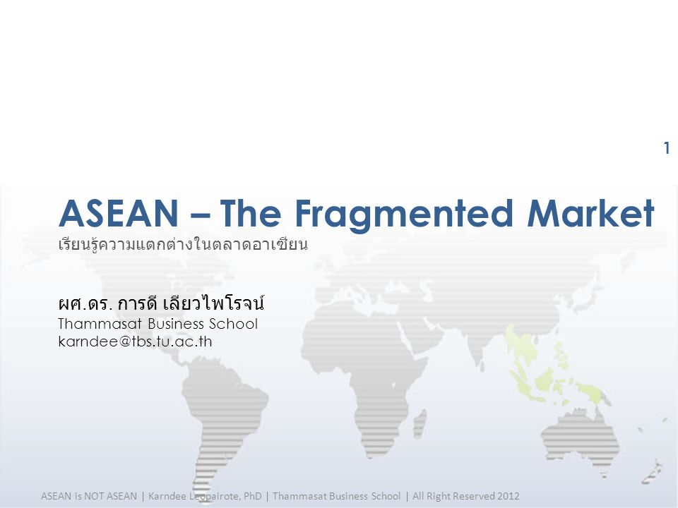 ASEAN is NOT ASEAN | Karndee Leopairote, PhD | Thammasat Business School | All Right Reserved 2012 Source: Central Intelligence Agency, The World Fact Book (2009) ASEAN Heterogeneity Ethnicity Various Cultural Backgrounds & Languages 22