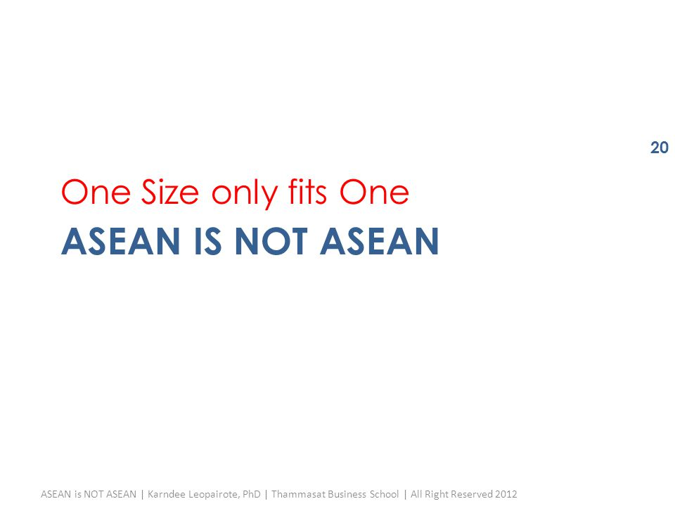 ASEAN IS NOT ASEAN One Size only fits One ASEAN is NOT ASEAN | Karndee Leopairote, PhD | Thammasat Business School | All Right Reserved 2012 20