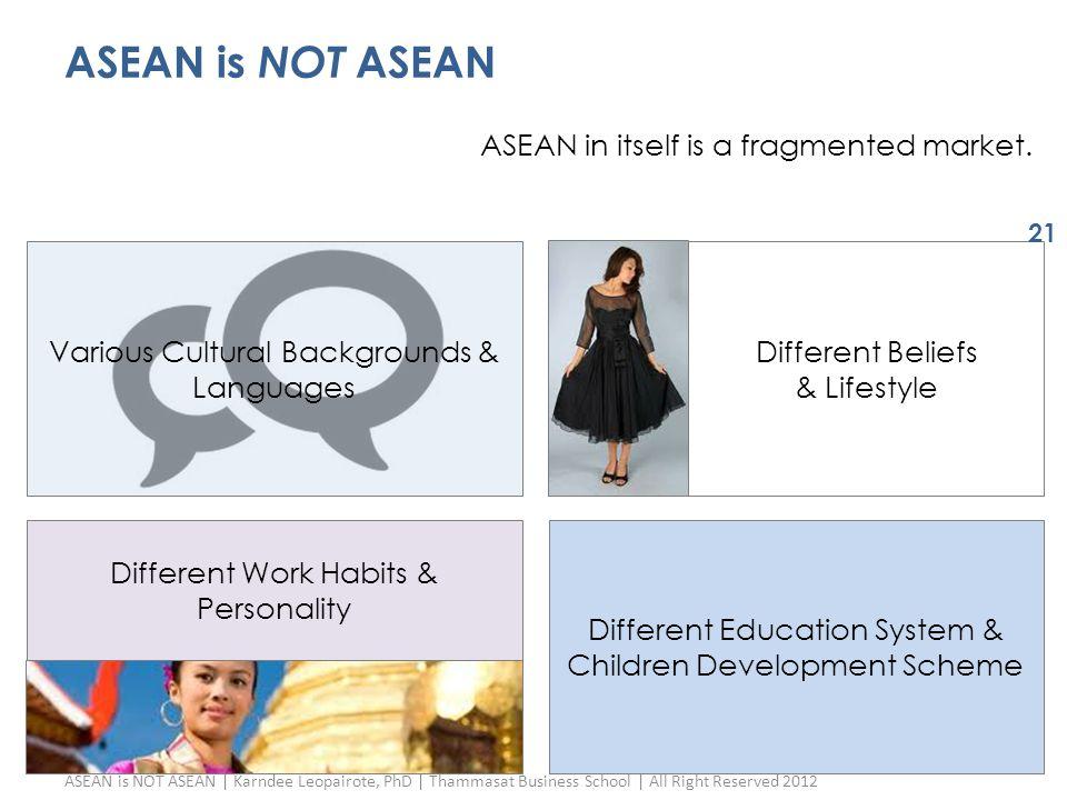ASEAN is NOT ASEAN Various Cultural Backgrounds & Languages Different Education System & Children Development Scheme Different Beliefs & Lifestyle ASE
