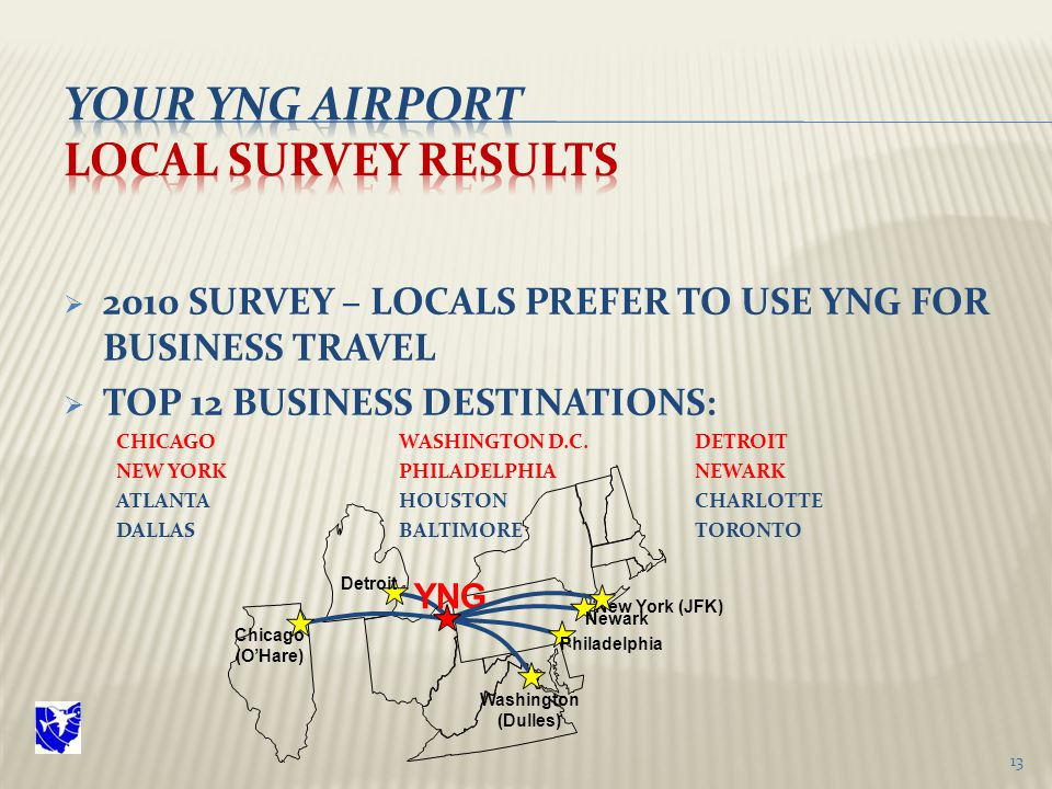  2010 SURVEY – LOCALS PREFER TO USE YNG FOR BUSINESS TRAVEL  TOP 12 BUSINESS DESTINATIONS: CHICAGO WASHINGTON D.C.