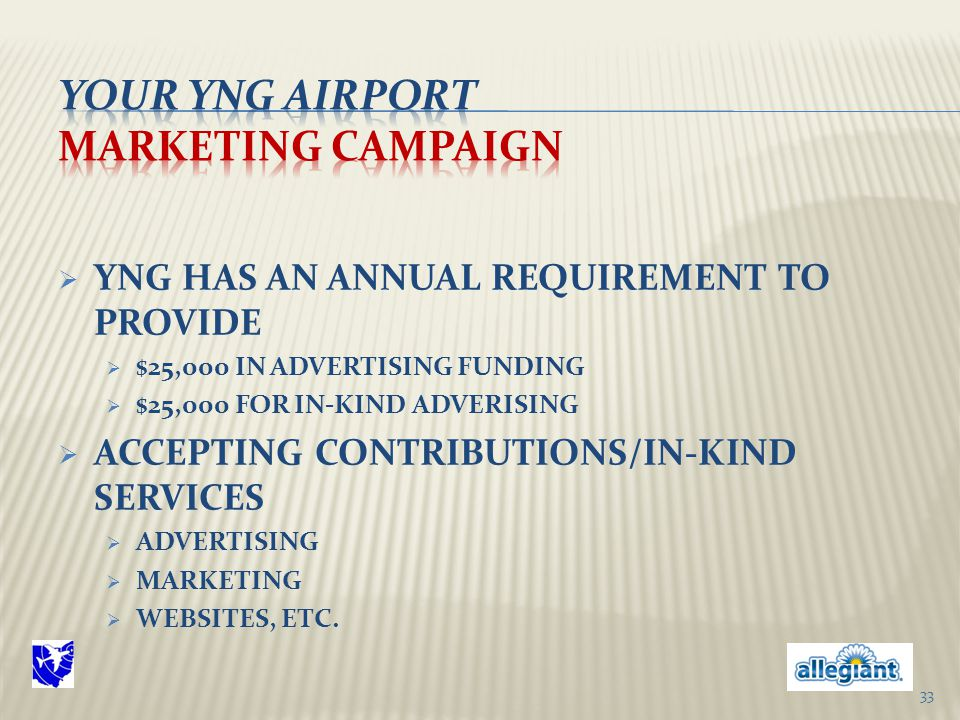  YNG HAS AN ANNUAL REQUIREMENT TO PROVIDE  $25,000 IN ADVERTISING FUNDING  $25,000 FOR IN-KIND ADVERISING  ACCEPTING CONTRIBUTIONS/IN-KIND SERVICES  ADVERTISING  MARKETING  WEBSITES, ETC.