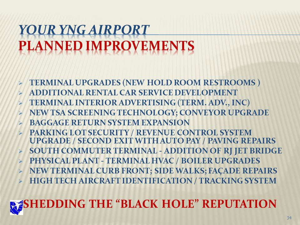  TERMINAL UPGRADES (NEW HOLD ROOM RESTROOMS )  ADDITIONAL RENTAL CAR SERVICE DEVELOPMENT  TERMINAL INTERIOR ADVERTISING (TERM.