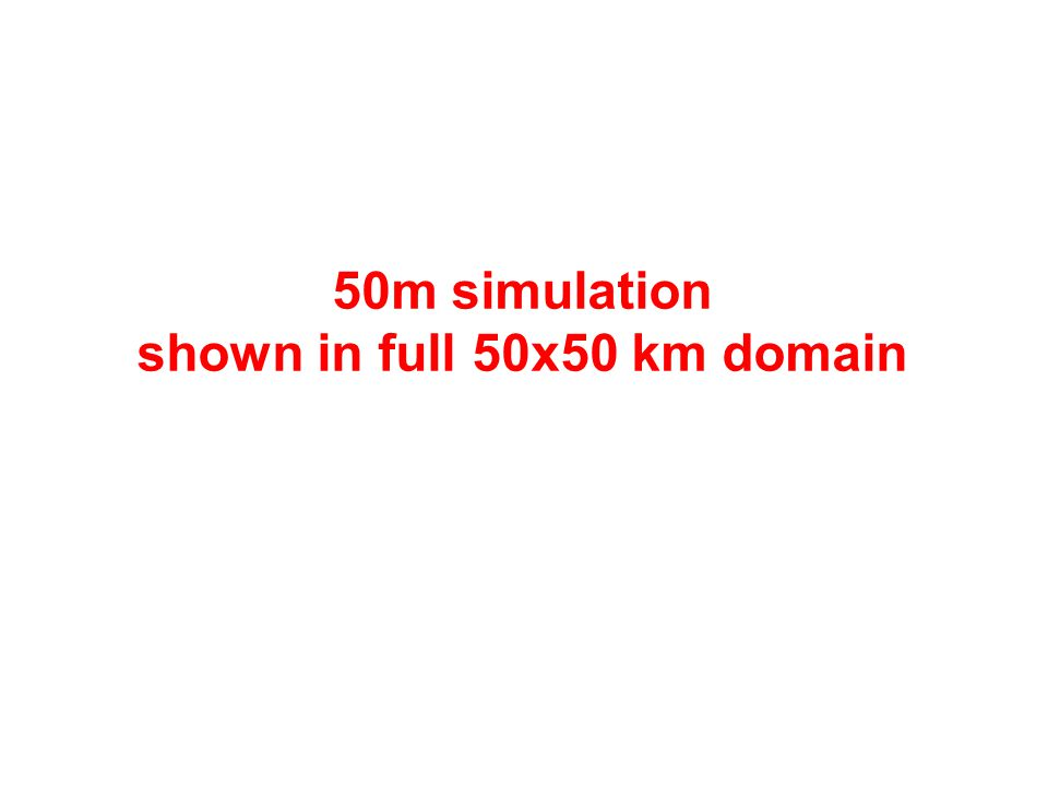 50m simulation shown in full 50x50 km domain
