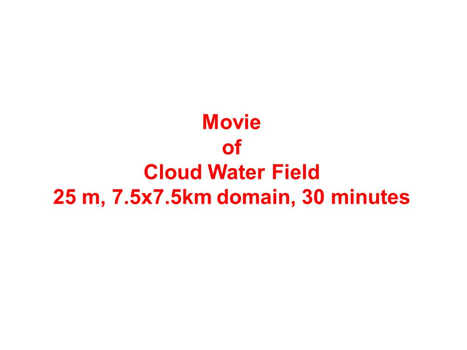 Movie of Cloud Water Field 25 m, 7.5x7.5km domain, 30 minutes