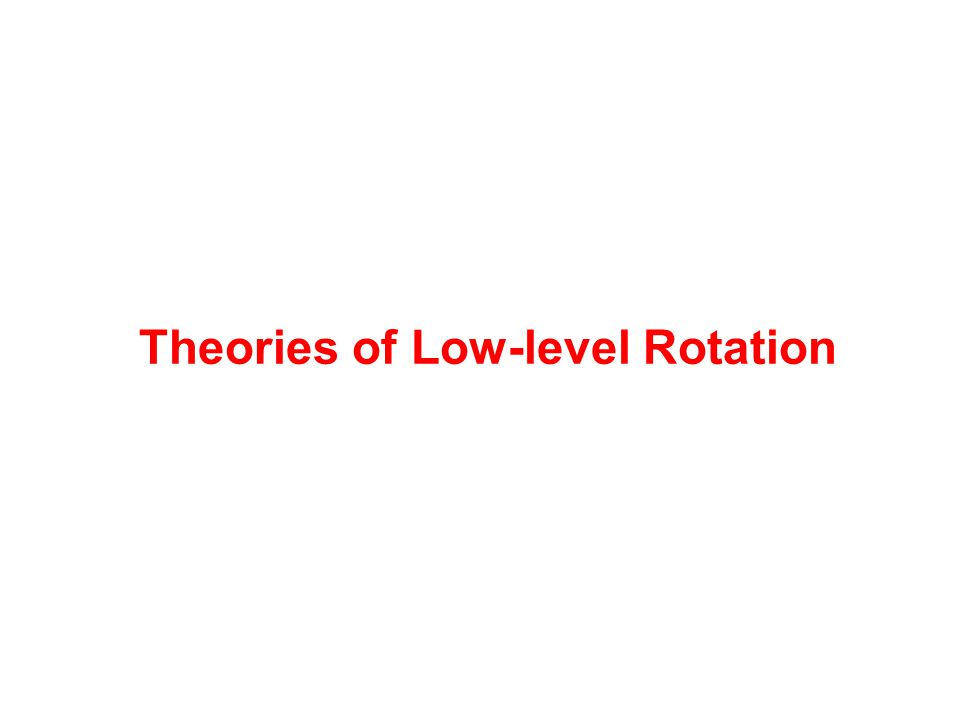 Theories of Low-level Rotation