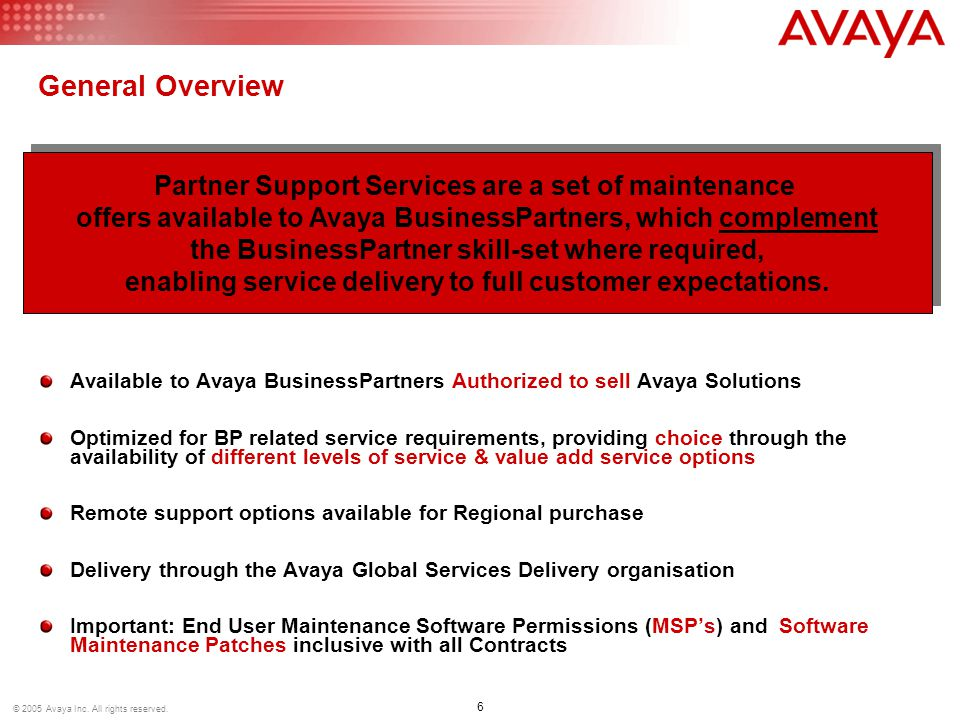 27 © 2005 Avaya Inc.All rights reserved.