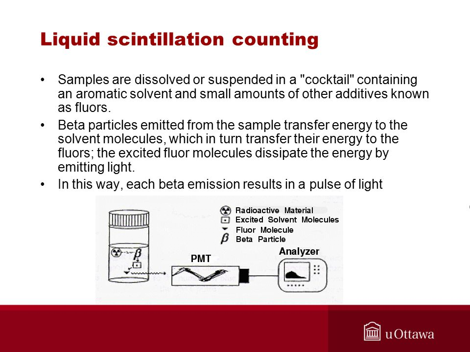 Liquid scintillation counting Samples are dissolved or suspended in a cocktail containing an aromatic solvent and small amounts of other additives known as fluors.