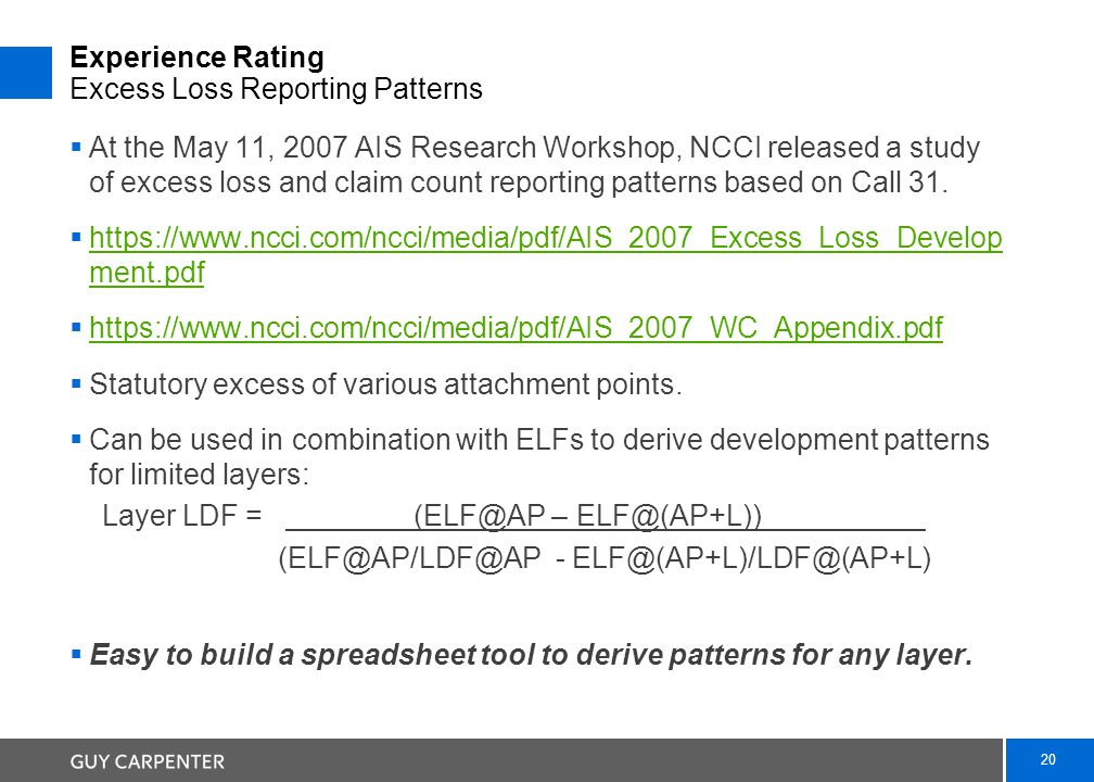 20 Experience Rating Excess Loss Reporting Patterns  At the May 11, 2007 AIS Research Workshop, NCCI released a study of excess loss and claim count reporting patterns based on Call 31.