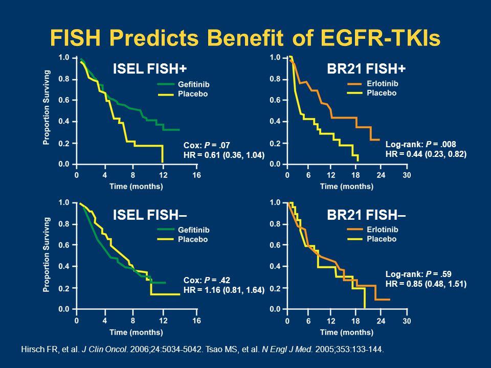 FISH Predicts Benefit of EGFR-TKIs Log-rank: P =.008 HR = 0.44 (0.23, 0.82) Log-rank: P =.59 HR = 0.85 (0.48, 1.51) ISEL FISH+BR21 FISH+ Cox: P =.07 HR = 0.61 (0.36, 1.04) BR21 FISH–ISEL FISH– Cox: P =.42 HR = 1.16 (0.81, 1.64) Hirsch FR, et al.