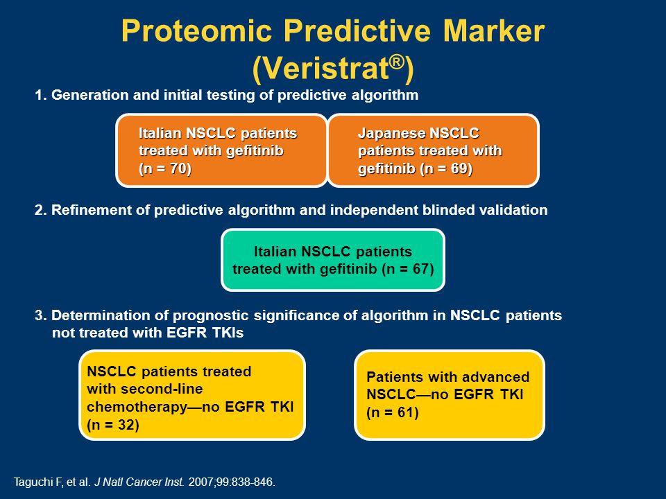 Proteomic Predictive Marker (Veristrat ® ) Italian NSCLC patients treated with gefitinib (n = 67) 1.
