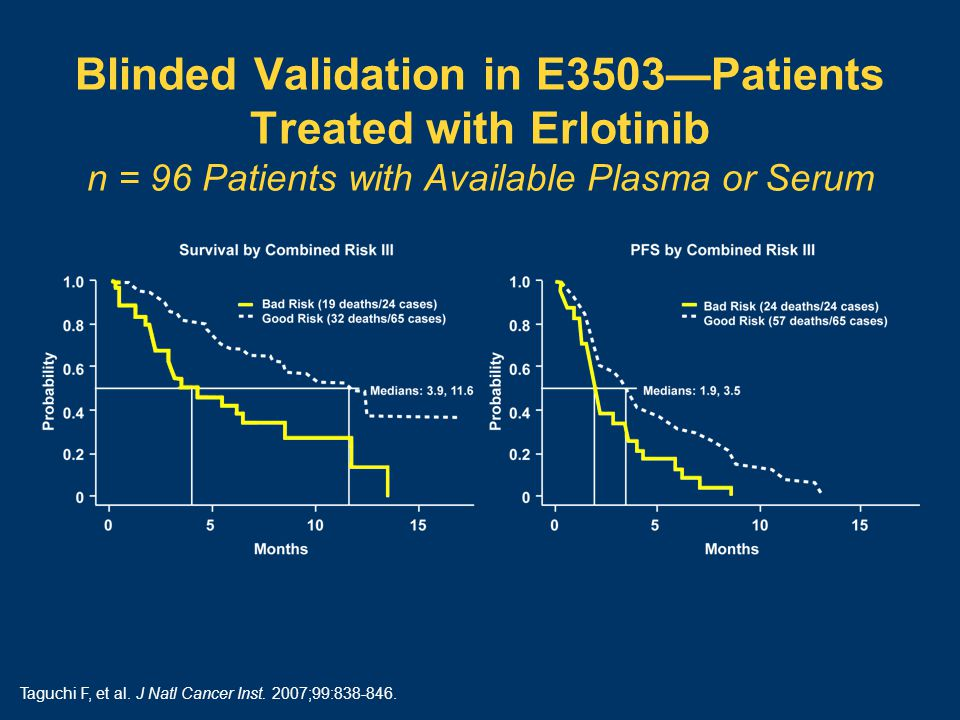 Blinded Validation in E3503—Patients Treated with Erlotinib n = 96 Patients with Available Plasma or Serum Taguchi F, et al.