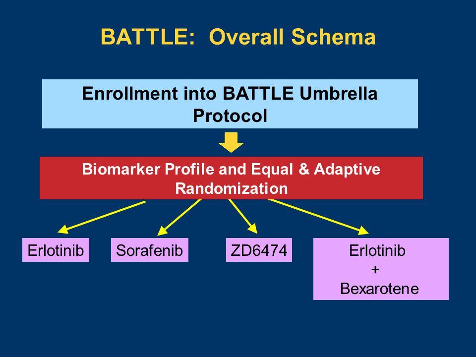 BATTLE: Overall Schema Enrollment into BATTLE Umbrella Protocol Biomarker Profile and Equal & Adaptive Randomization ZD6474 Erlotinib + Bexarotene SorafenibErlotinib