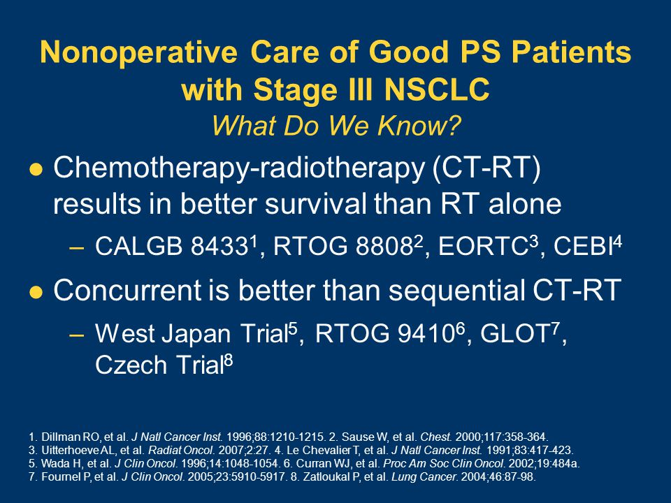 Nonoperative Care of Good PS Patients with Stage III NSCLC What Do We Know.