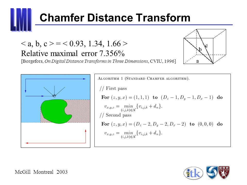 McGill Montreal 2003 Chamfer Distance Transform = Relative maximal error 7.356% [Borgefors, On Digital Distance Transforms in Three Dimensions, CVIU, 1996]